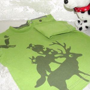 Catimini Green Animals Top long sleeve 12-18 mos